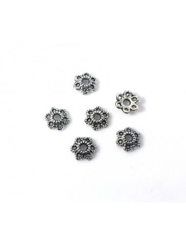 10 Capacele decorative floare argint tibetan 5.5  mm