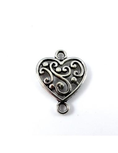 Link argintiu inima 19 x 15 mm