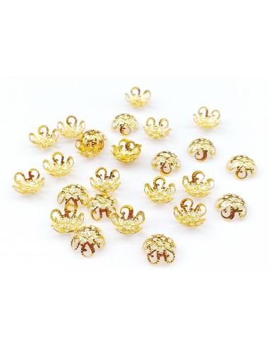 10 Capacele aurii floare filigran 5 petale 7.5 x 5 mm
