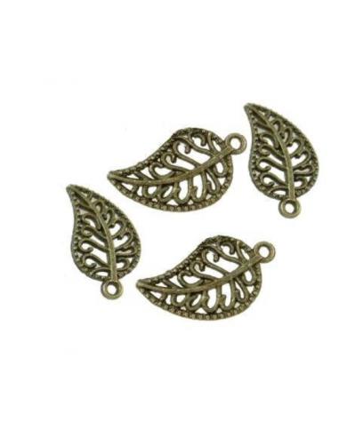 Charm frunza filigran bronz antichizat 19 x 10 mm