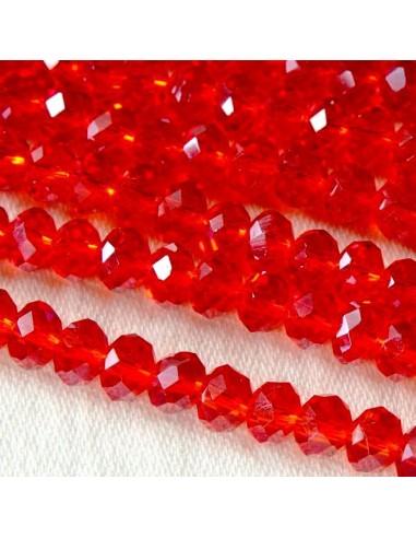 Rondele cristal fatetat Siam 4 x 6 mm