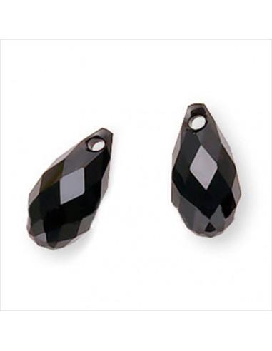 Brioleta fatetata cristal negru 6 x 11 mm