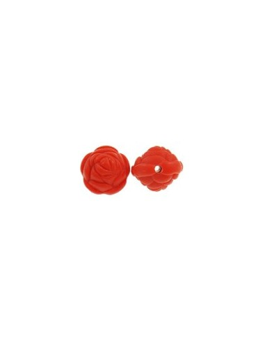 Floare 3D rosie frosted 19 x 17 mm