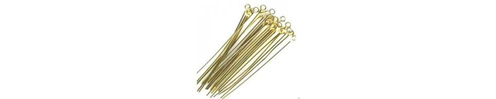 Ace cu bila, ace cu cap, ace cu bucla, aurii, placate cu aur pentru confectionare bijuterii